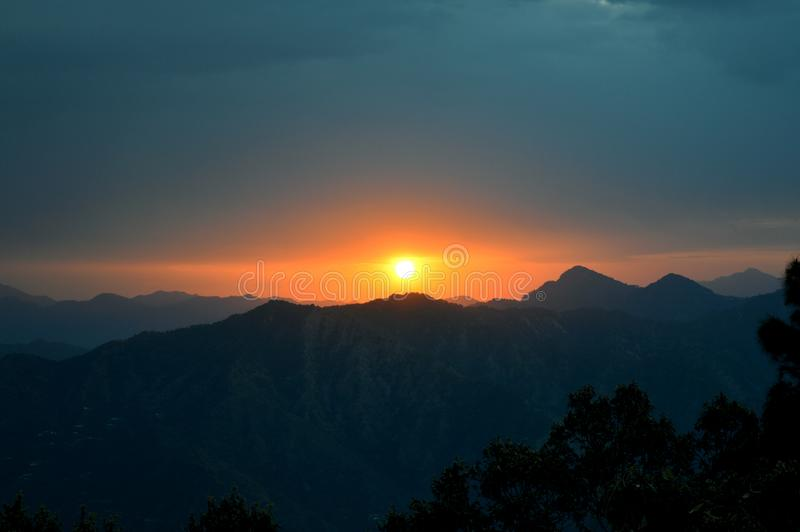 Photo of Mountain during Sunset royalty free stock images
