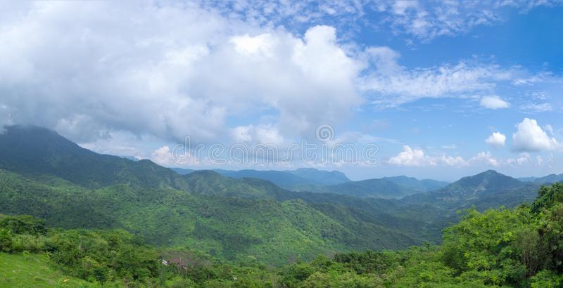 Green mountains and blusky panorama stock photography