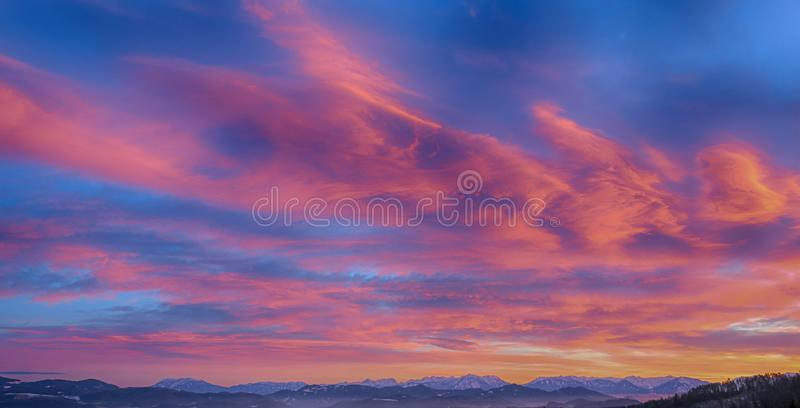 Photo of Mountains During Sunset royalty free stock images
