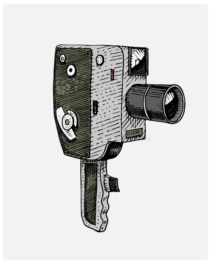 Photo movie or film camera vintage, engraved, hand drawn in sketch or wood cut style, old looking retro lens, isolated royalty free illustration