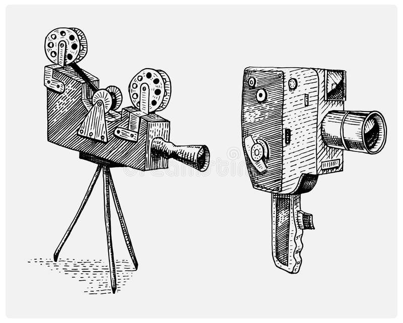 Photo movie or film camera vintage, engraved, hand drawn in sketch or wood cut style, old looking retro lens, vector illustration