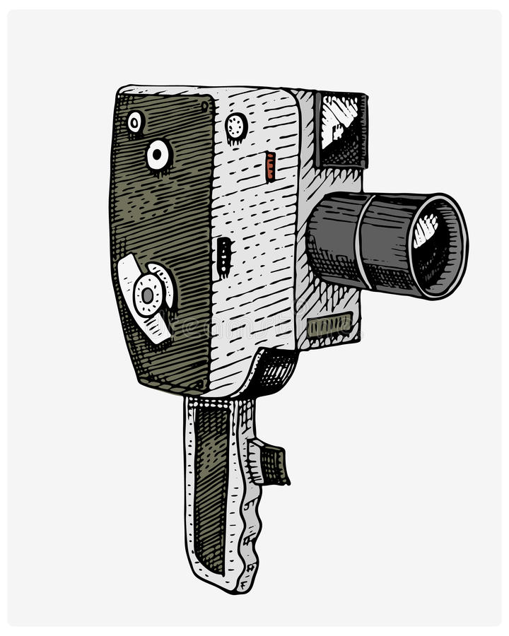 Photo movie or film camera vintage, engraved, hand drawn in sketch or wood cut style, old looking retro lens, stock illustration