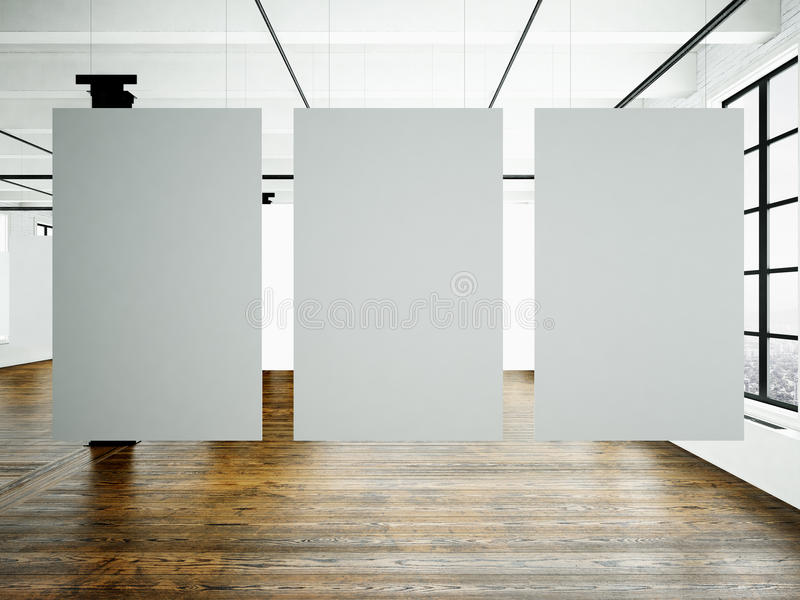 Photo museum interior in modern building.Open space studio. Empty white canvas hanging.Wood floor, bricks wall,panoramic stock photo