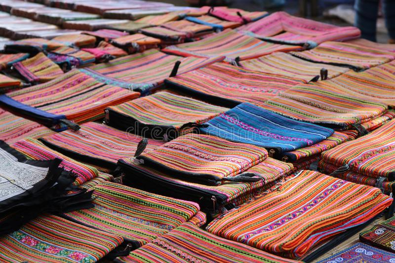 Colorful fabric in Sapa, Vietnam stock image