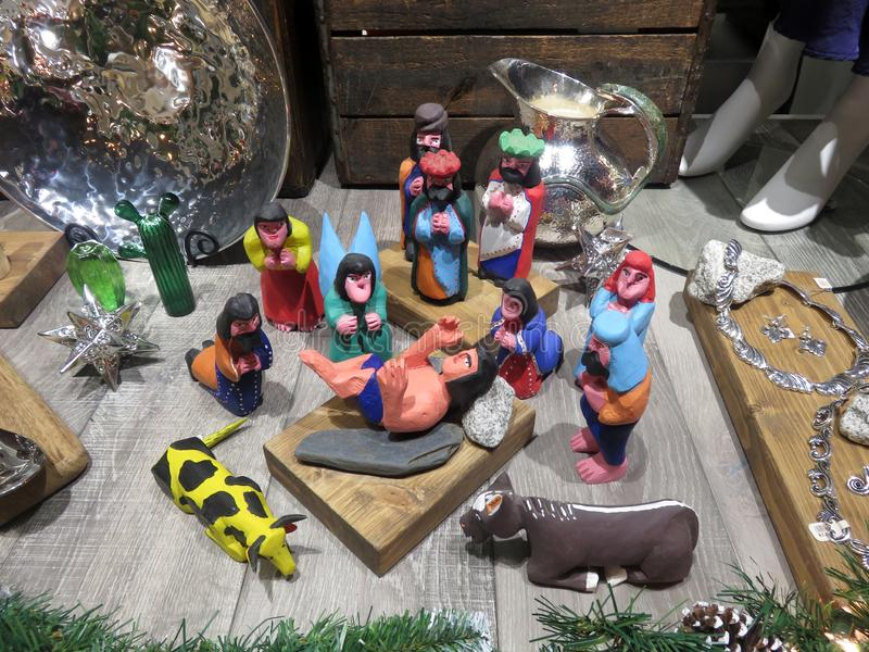 Nativity Display at Store in Georgetown stock photography