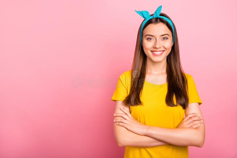 Photo of nice cute confident shining pinup girlfriend combining amazing features of appearance with her developed mind. Photo of nice cute confident shining stock images