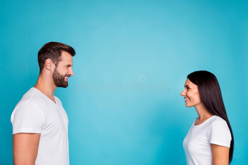 Photo of nice pair look eyes glad finally meeting wear casual outfit isolated blue background royalty free stock photography