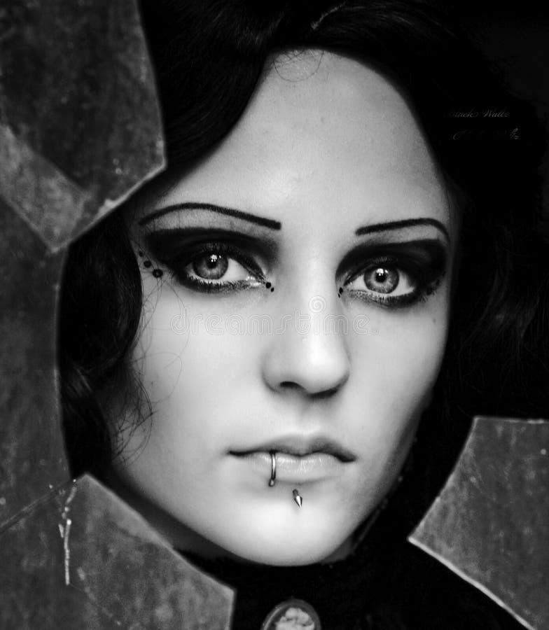 Photo noire et blanche de la belle fille photo libre de droits