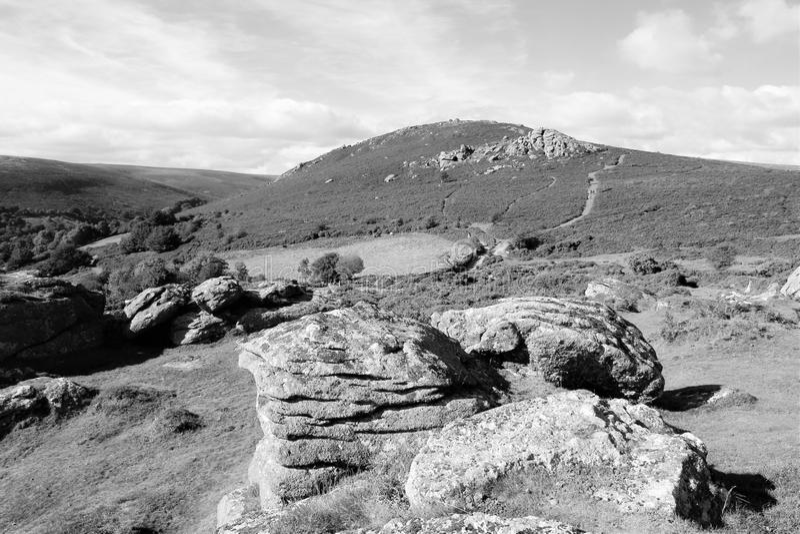 Photo noire et blanche de parc national de Dartmoor, Devon, R-U photos libres de droits