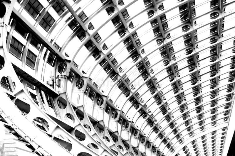 Photo noire et blanche, le plus grand hall d'exposition du monde, bâtiment, centre d'exposition international de Guangzhou Pazhou images stock