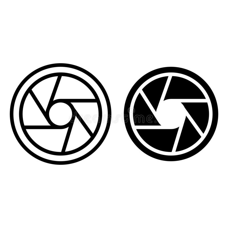 Photo objective line and glyph icon. Camera aperture vector illustration isolated on white. Objective lens outline style. Design, designed for web and app. Eps stock illustration