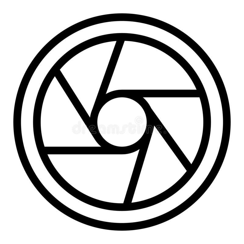 Photo objective line icon. Camera aperture vector illustration isolated on white. Objective lens outline style design. Designed for web and app. Eps 10 royalty free illustration