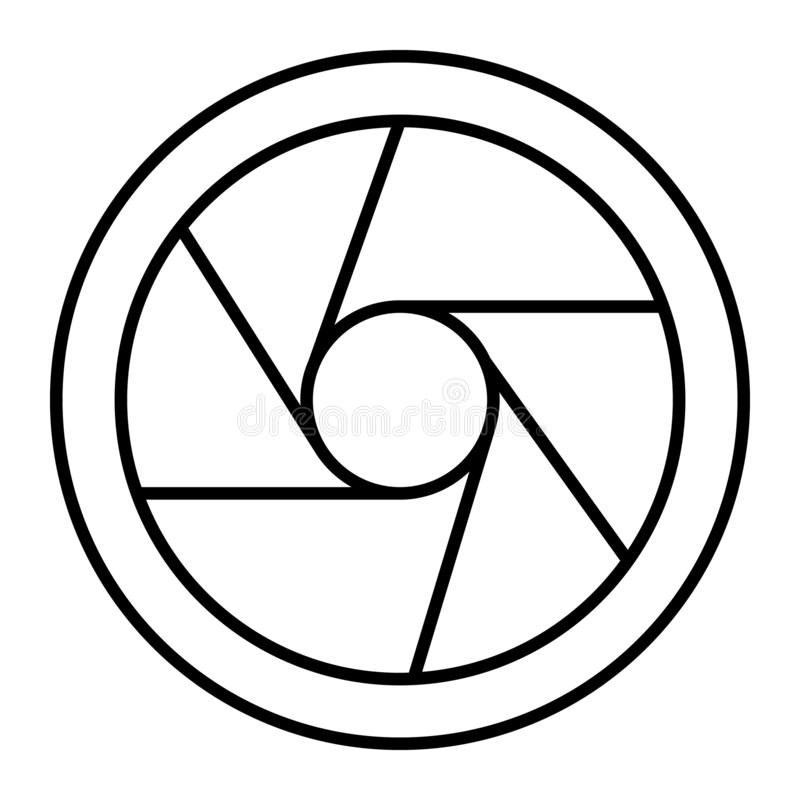 Photo objective thin line icon. Camera aperture vector illustration isolated on white. Objective lens outline style. Design, designed for web and app. Eps 10 vector illustration