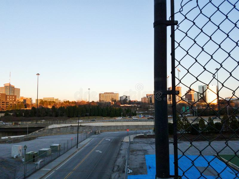 View on the highway and the downtown in Atlanta stock images