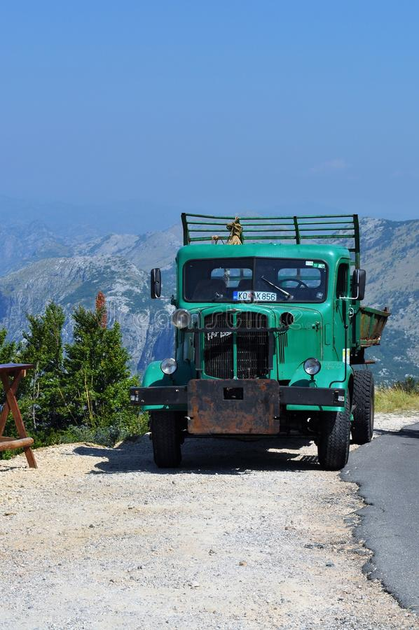Old green truck - Lovcen Mountain royalty free stock photos