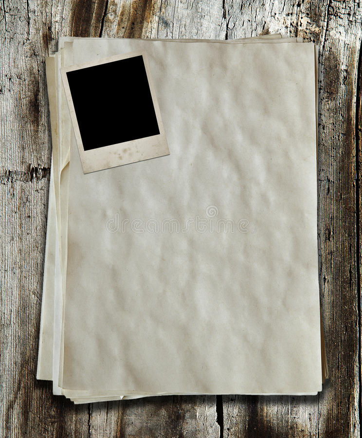 Photo And Old Paper Royalty Free Stock Photo