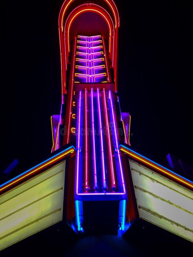 Old Theater Lights, Fresno California. A photo of an old theater in Fresno, California at night time stock photos