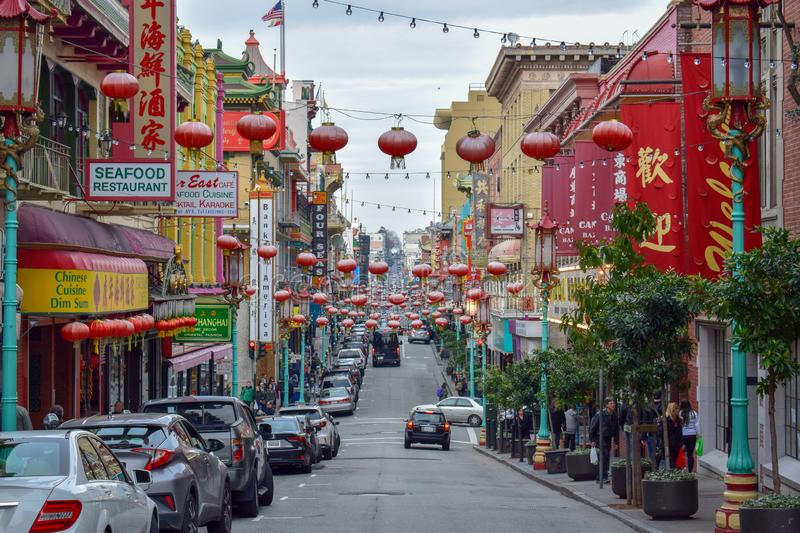Chinatown Street in San Francisco royalty free stock photo