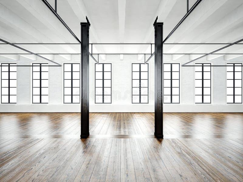 Photo of open space interior in modern loft. Empty white walls. Wood floor, black beams,big windows. Horizontal, blank vector illustration