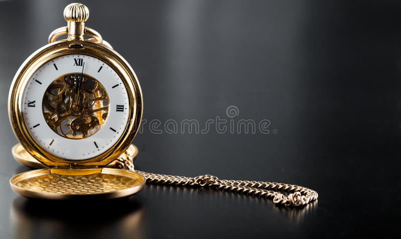 Photo of opened old vintage pocket clock stock image