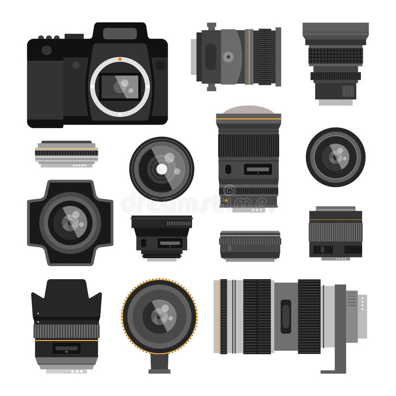 Photo optic lenses. Camera photo optic lenses set on white background. Different types objective equipment, professional look photo optic lenses. Photo optic stock illustration