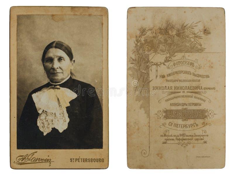 Photo originale d'antiquité de 1880s d'une femme supérieure images stock