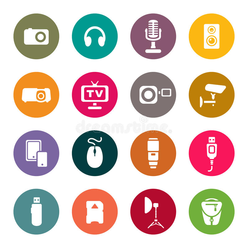 Photo and other technical devices icons set.  vector illustration