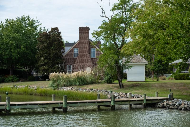 House along Oxford Harbour. USA. Photo of Oxford Harbour on Choptank River in Maryland, United States of America stock images