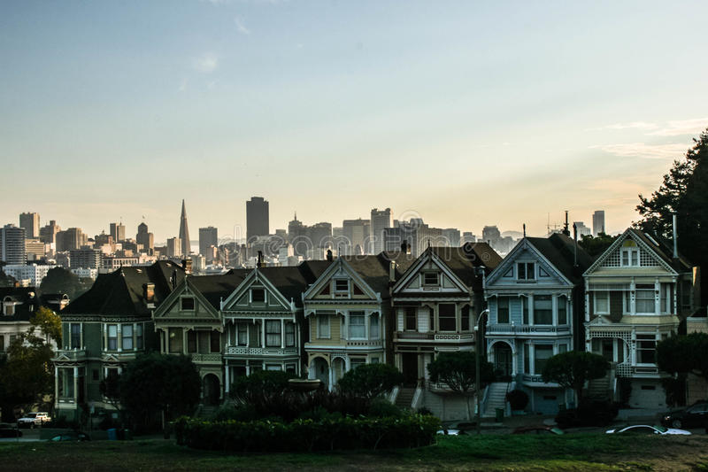 Painted Ladies in the Morning. Photo of the Painted Ladies in San Francisco, CA stock photo