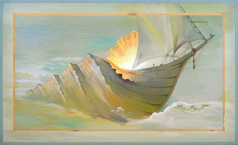 Evolution. Oil painting on wood. stock illustration