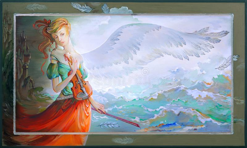 Melodic dreams. Oil painting on wood. Photo of painting by artist Natalja Cernecka. Melodic dreams. Oil painting on wood. Portrait of beautiful girl with violin royalty free illustration