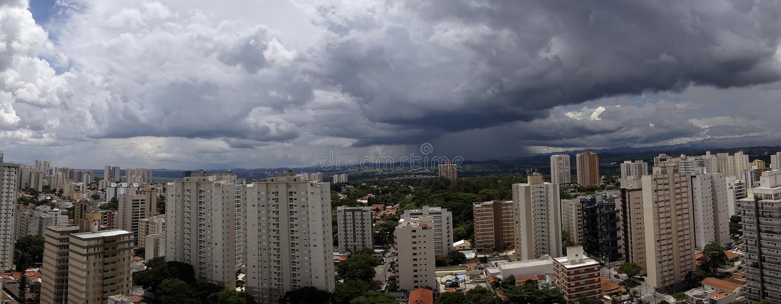 Panoramic photo of the city Sao Jose dos Campos - Sao Paulo, Brazil - with cloudy sky stock images