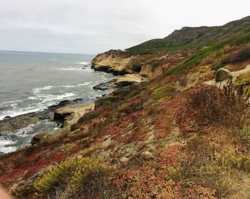 Photo panoramique aux bluffs et aux tidepools de monument national de Cabrillo Des bluffs et les tidepools côtiers sont trouvés l images stock