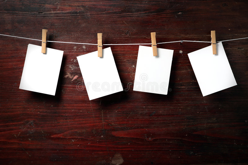 Download Photo Paper Attach To Rope With Clothes Pins Stock Image - Image of note, grunge: 7374241