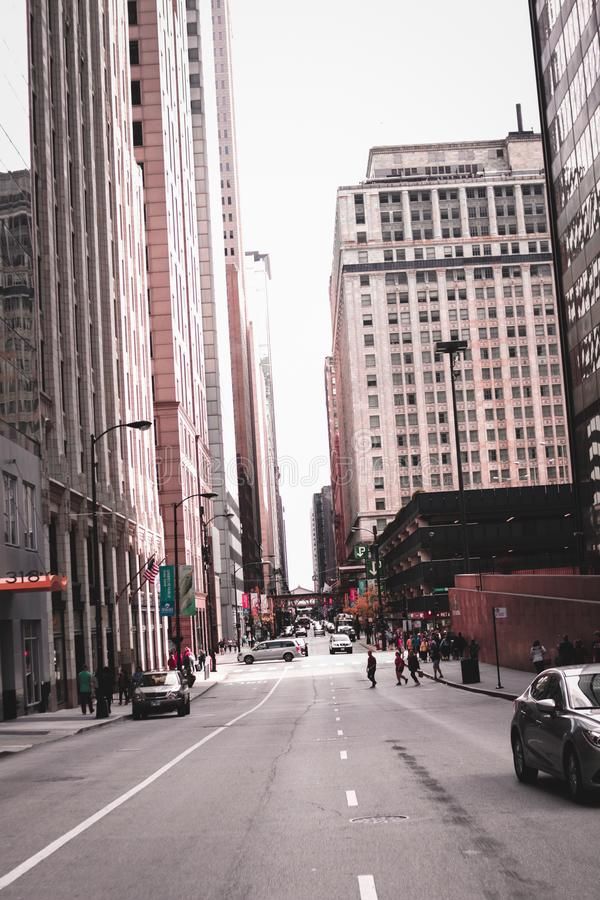 Photo of People Crossing Through Street in the Middle of Buildings royalty free stock photo