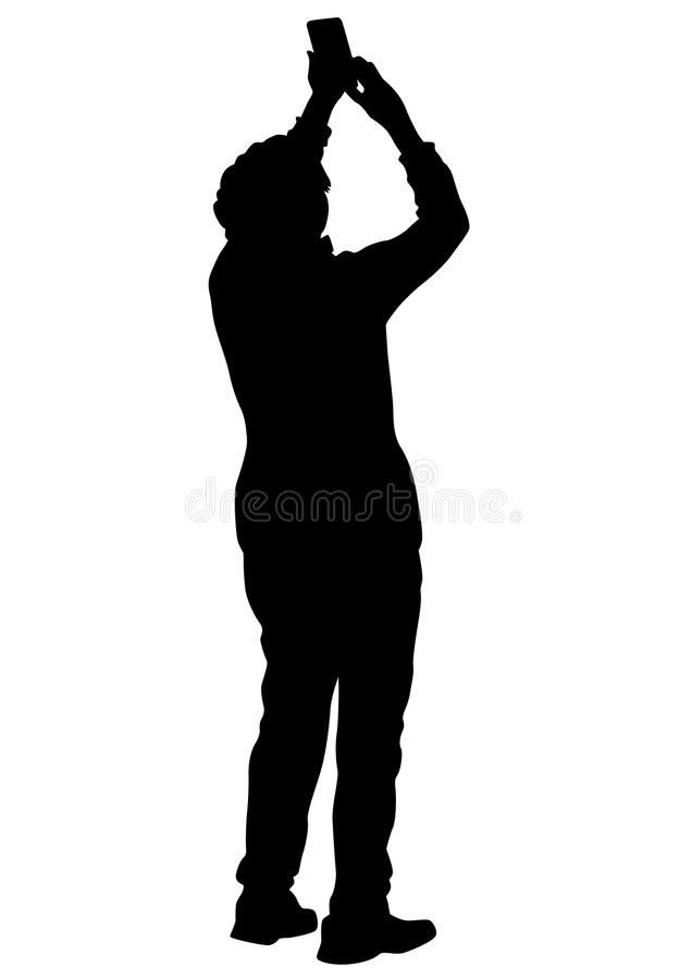 Photo people on street eight. People with a camera on white background