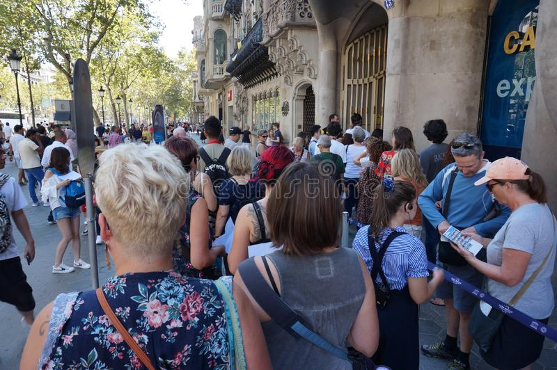 Line at Casa Batllo in Barcelona royalty free stock photo