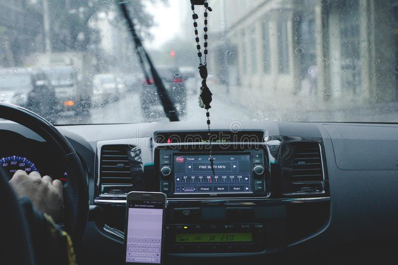 Photo of Person Driving Car While Raining royalty free stock photo