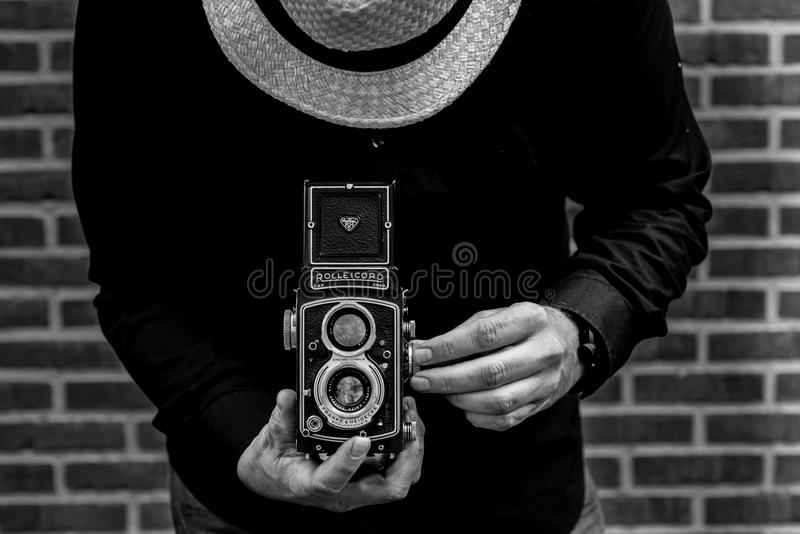Photo of Person Holding Vintage Camera stock image