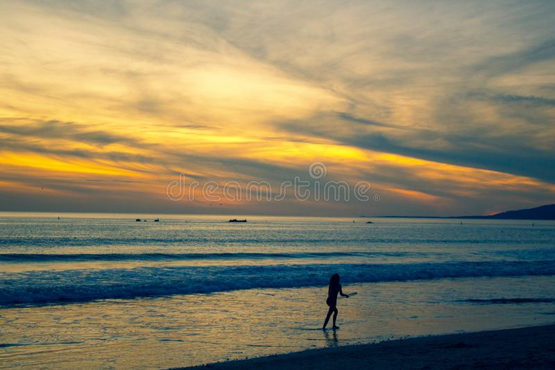 Photo of Person Walking on Beach Shore royalty free stock images