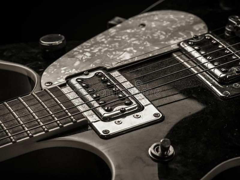 Download Pickups And Strings Of Old Electric Guitar Stock Image - Image of closeup, dirty: 110100813