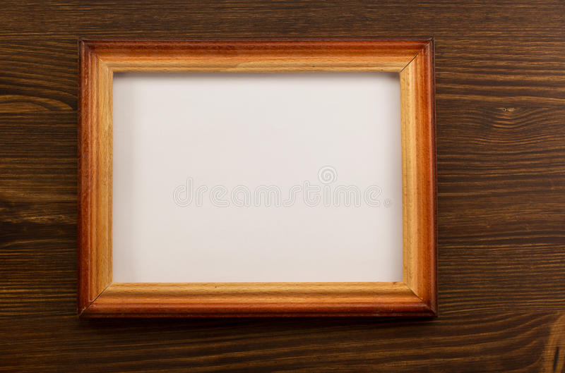 Photo picture frame on wood stock photography