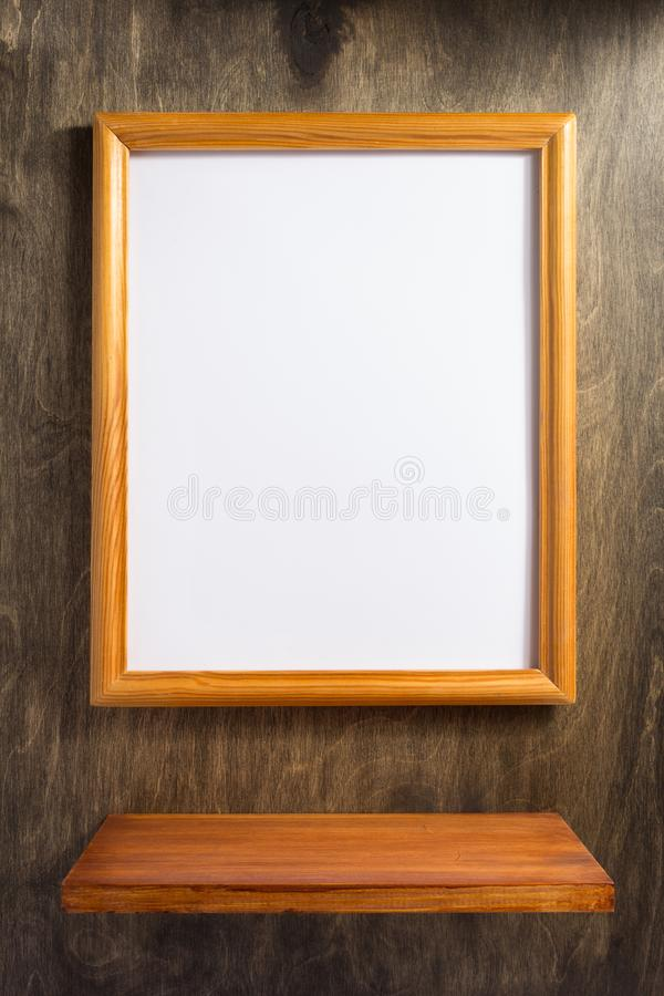Picture frame at wooden background. Photo picture frame at wooden background royalty free stock photography