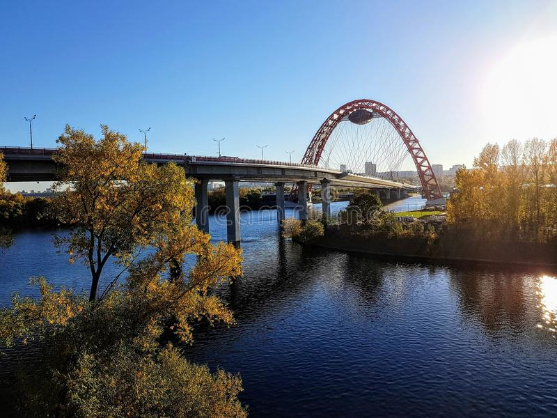 Photo of picturesque bridge in Moscow in autumn. Afternoon stock photos