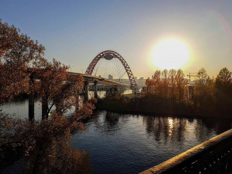 Photo of picturesque bridge in Moscow in autumn. Afternoon stock image