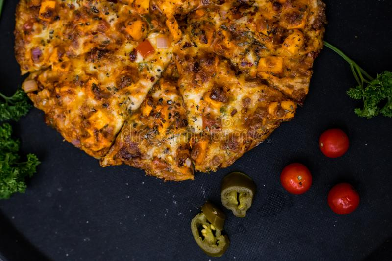 Photo of pizza taken from top. stock images