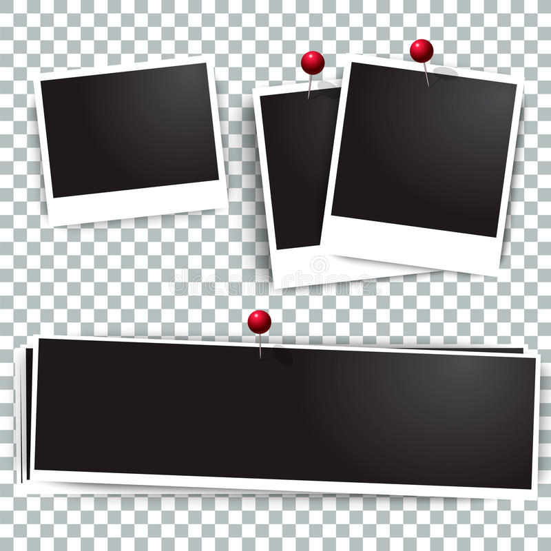 Photo polaroid frames on wall attached with pins. frame and collection of retro picture. Vector illustration set royalty free illustration