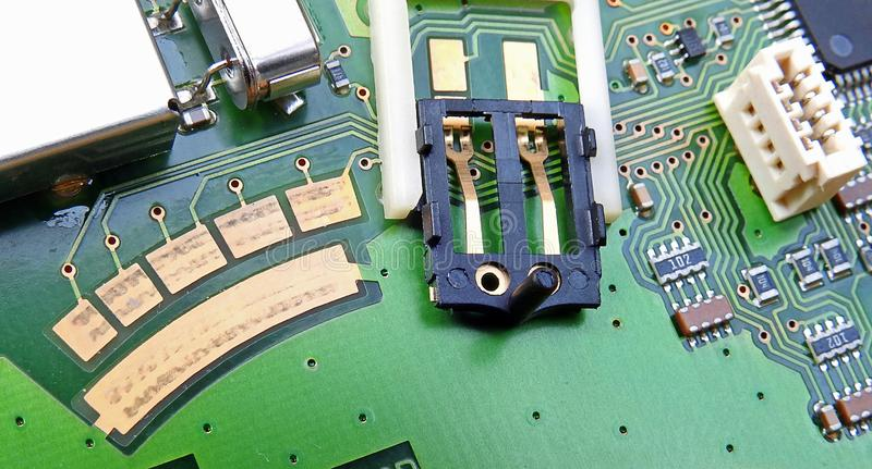 Pcb printed circuit board comms unit control panel switches points microchip electronic stock images