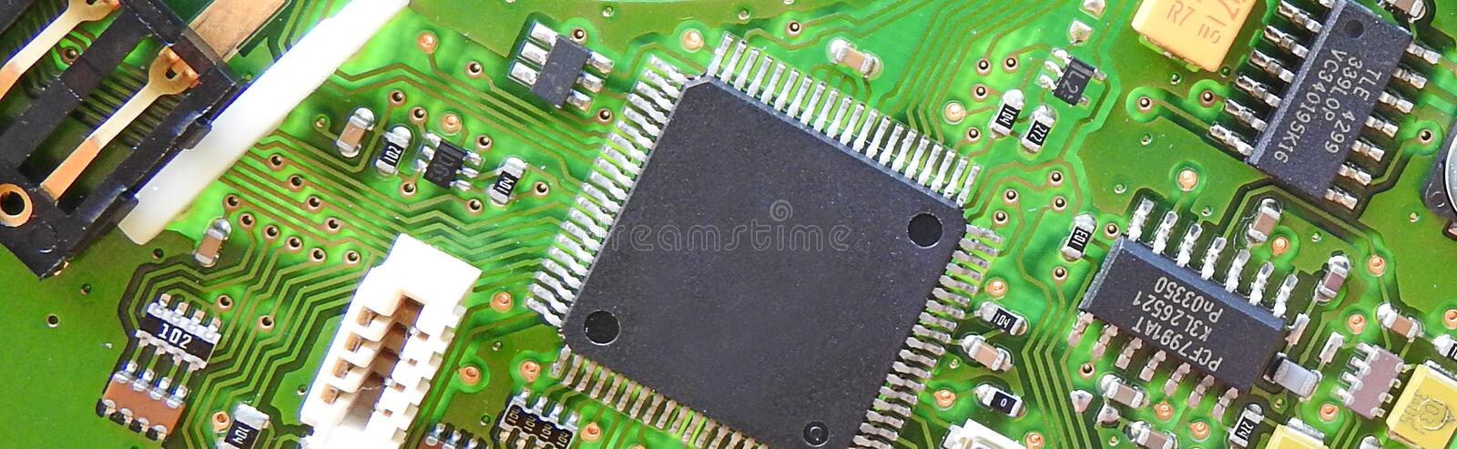 Pcb printed circuit board comms unit control panel switches points microchip electronic royalty free stock images