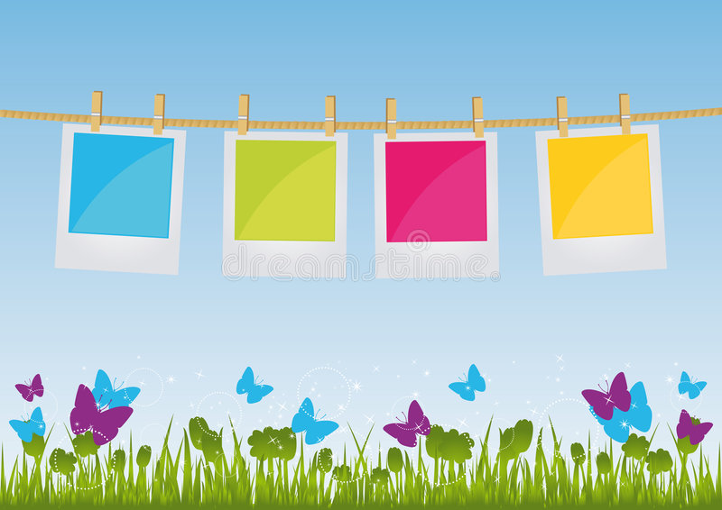 Download Photo Prints Hanging On A Rope Stock Vector - Illustration: 8076613